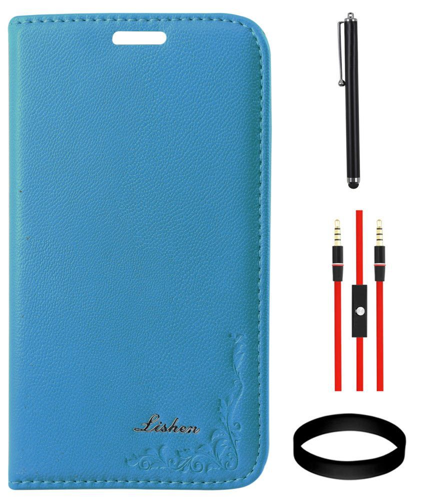 DMG LISHEN Premium Leather Flip Cover for Samsung Galaxy Grand i9082(Blue) + AUX Cable + Stylus