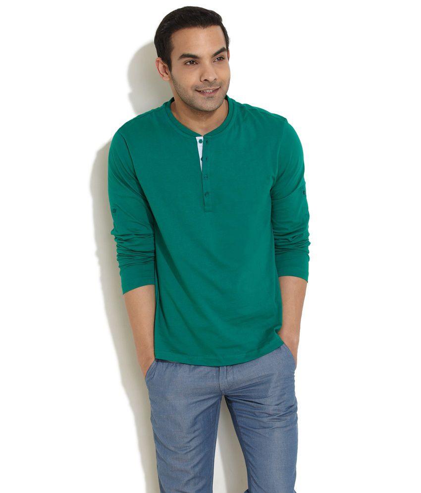 Freecultr Shady Glade Henley Green T-Shirt