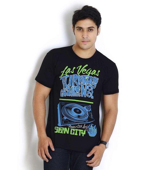 Globus Black Half Cotton Round  T-Shirt