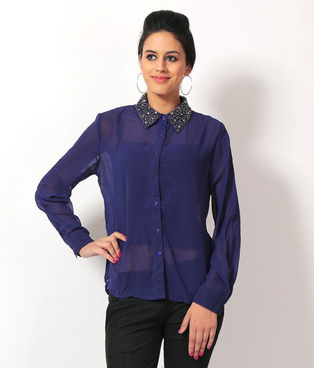 Luv Valentina Navy Solids Poly Georgette Full Regular Collar Shirts