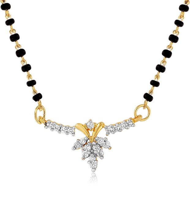 Mahi Gold Plated Celestial Love Mangalsutra Pendant with CZ Stones