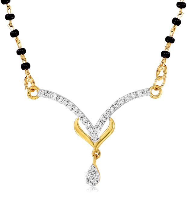 Mahi Gold Plated Reverence Mangalsutra Pendant with CZ Stones