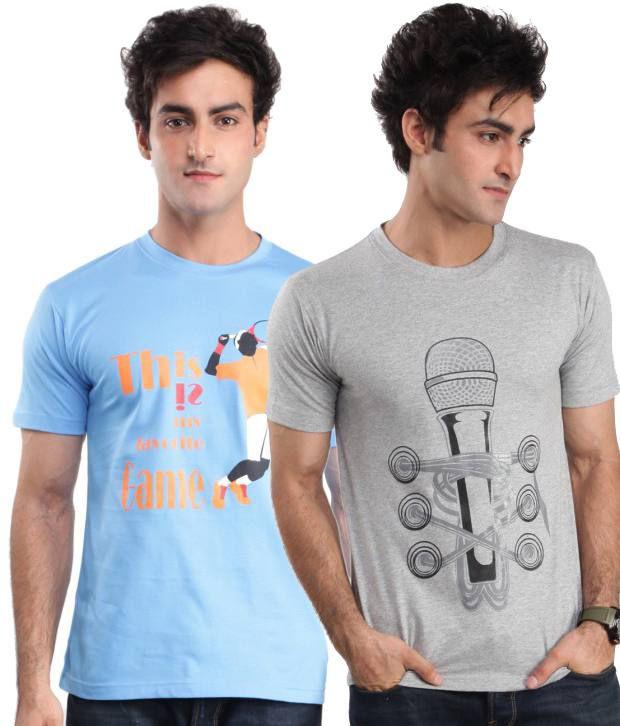 ZEZILE Blue Gray Half Cotton Round  T-Shirt