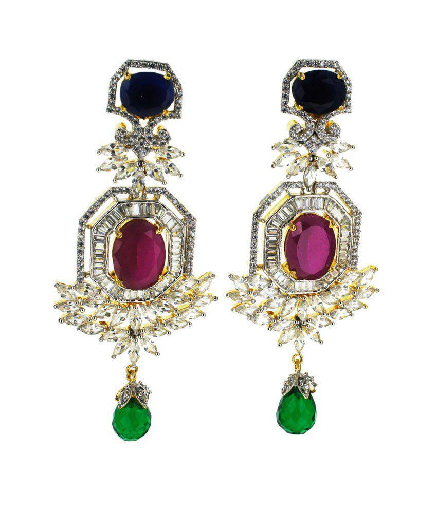 Aabhushan Jewels Gemstone American Diamond Earrings
