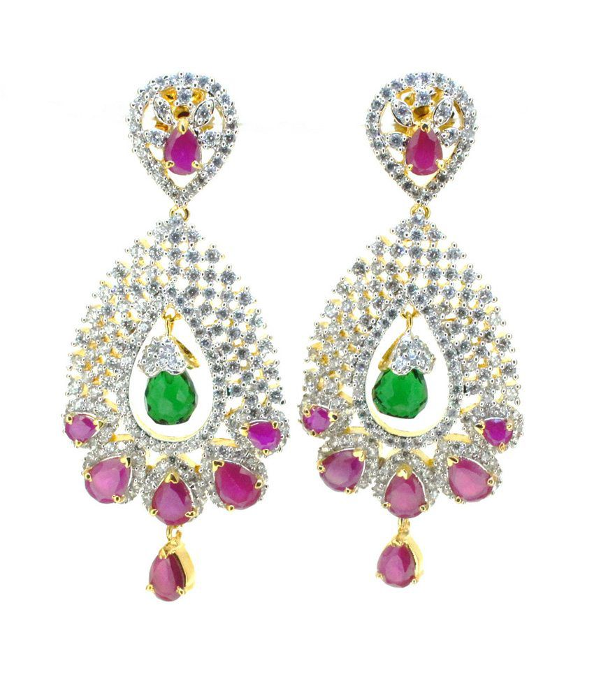 Aabhushan Jewels Stunning Color Stone American Diamond Earrings