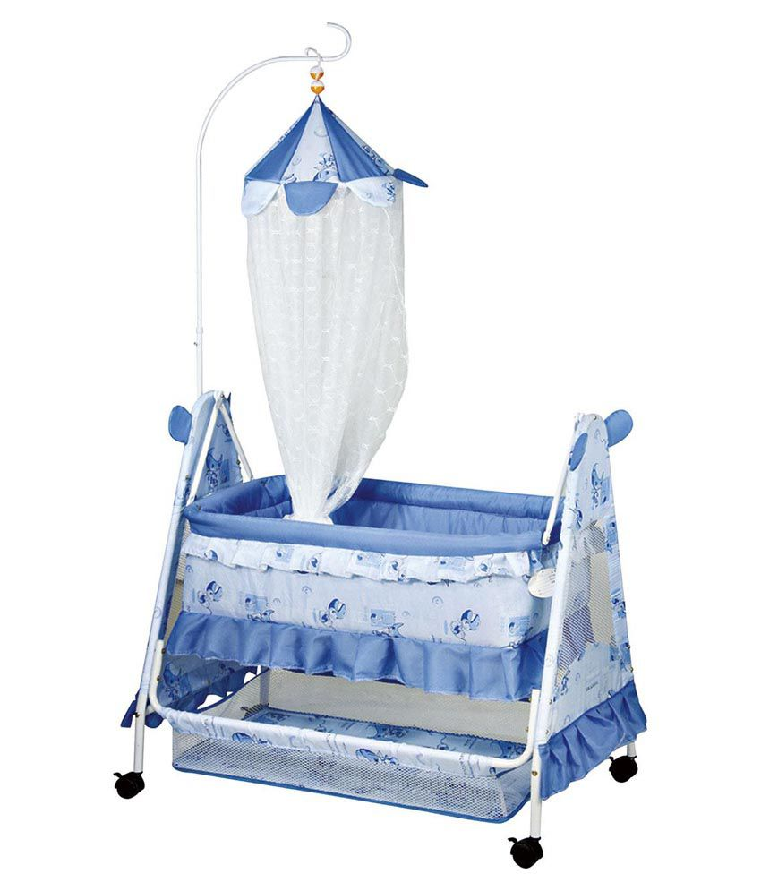 Baby cribs and cradles - Comfort Baby Crib With Net Blue