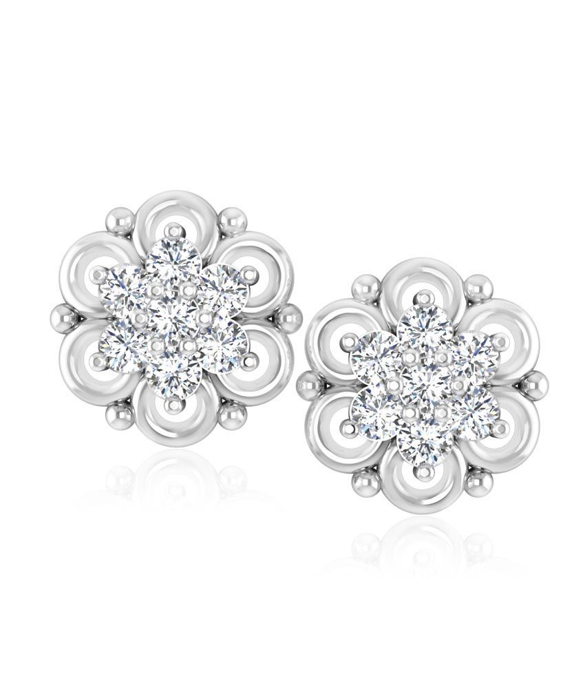 Forever Carat Real Diamond Ice-Flower Earrings in 100% Certified 14kt Gold