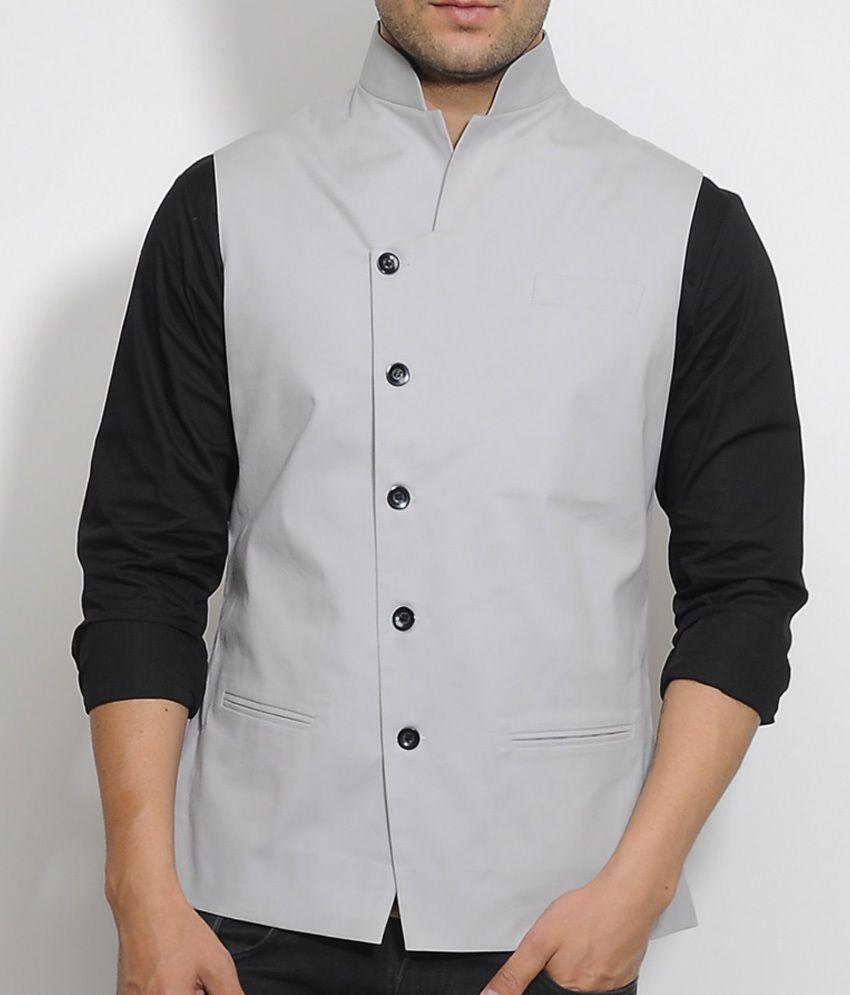 I Know Grey Tilted Placket Waist Coat