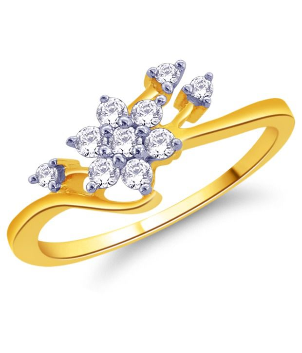 92.5 Sterling Silver Diamonds Floral Ring by Ishaan Gems