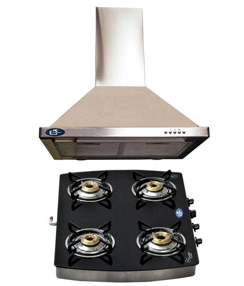 Elegant 850 Suction Chimney ELE-1002 (60 CM) +  Elegant 4 Burner