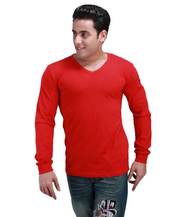 Inkovy Stylish V Neck Full Red T-shirt
