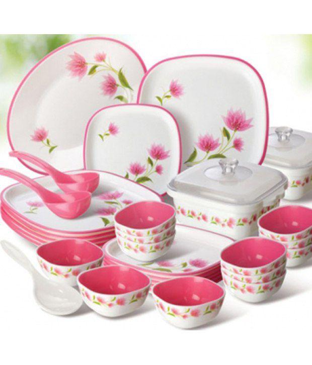 Nayasa White Square Dinner Set 32 Pcs Buy Online At Best