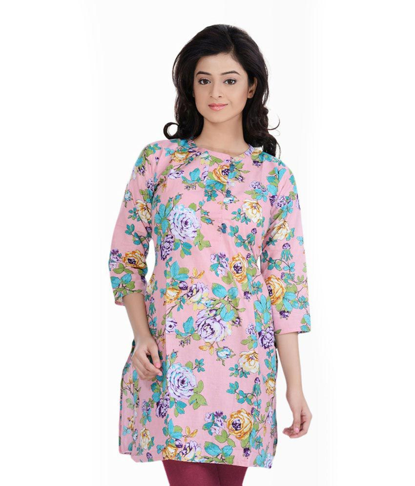 Zedds Pink Printed Cotton 3/4th Medium Kurtis