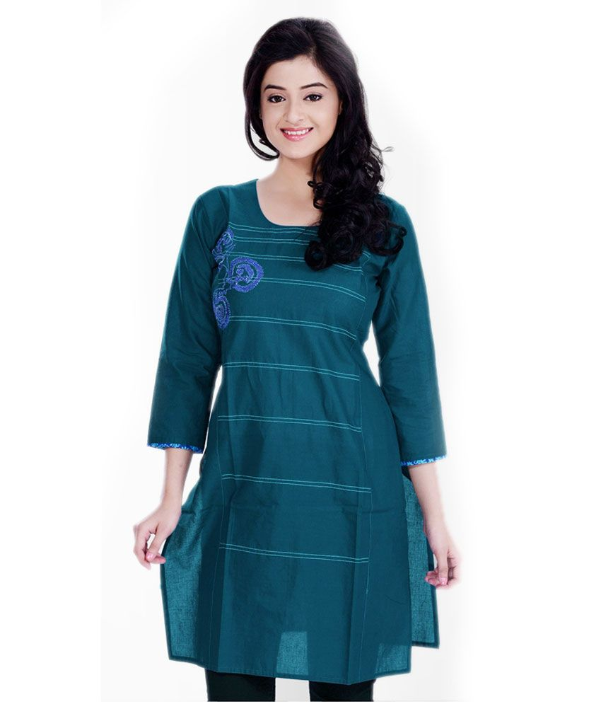 Zedds Turquoise Embroidered Cotton 3/4th Medium Kurtis