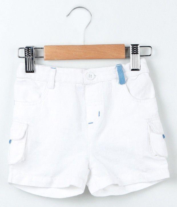 Beebay White Color Basic Shorts For Kids