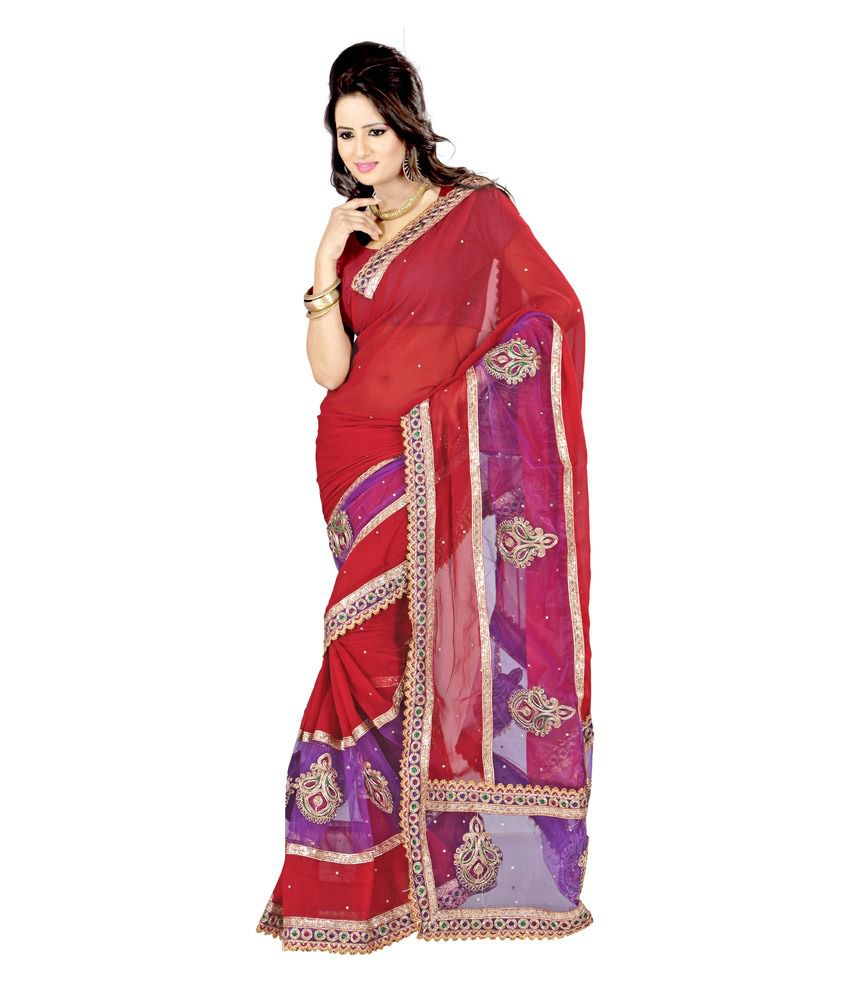 Kajal Saree Multi Embroidered Faux Georgette Saree
