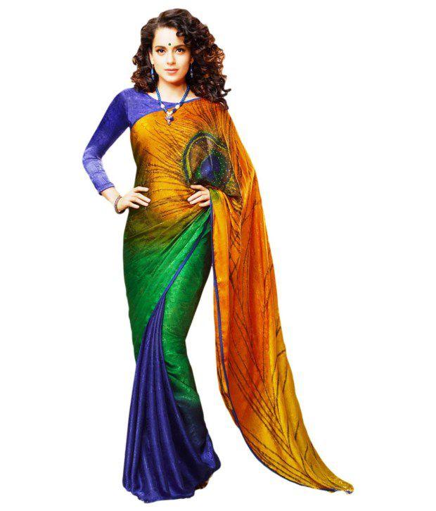 Roop Kashish Blue Printed Art Crepe  Sarees