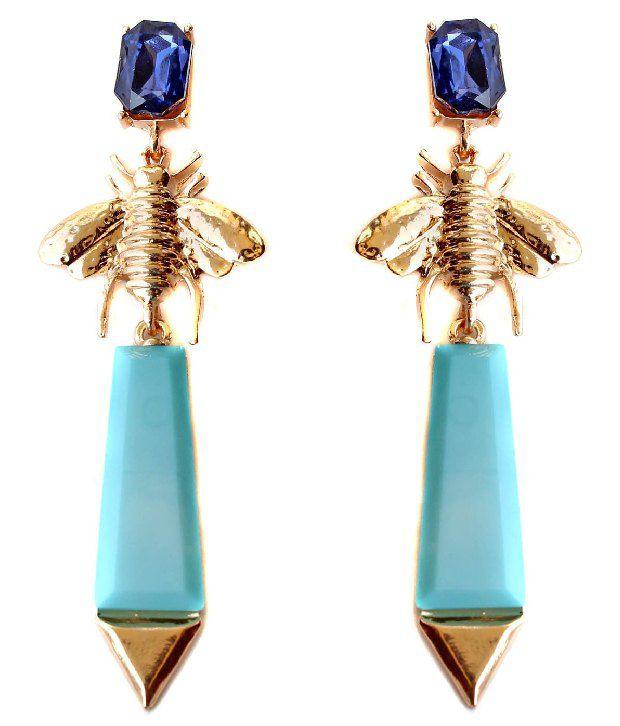 Scrunchh Blue Bee Long Earrings