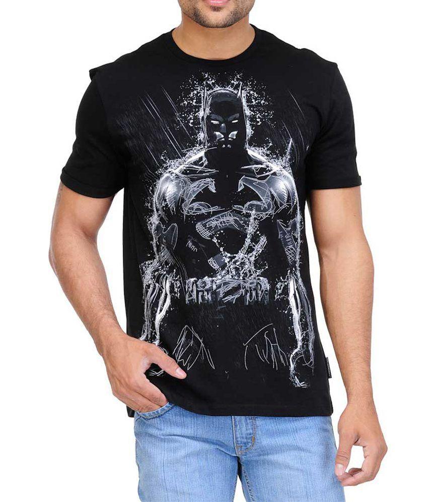White Kalia Batman Black Half   Cotton Round T-Shirt