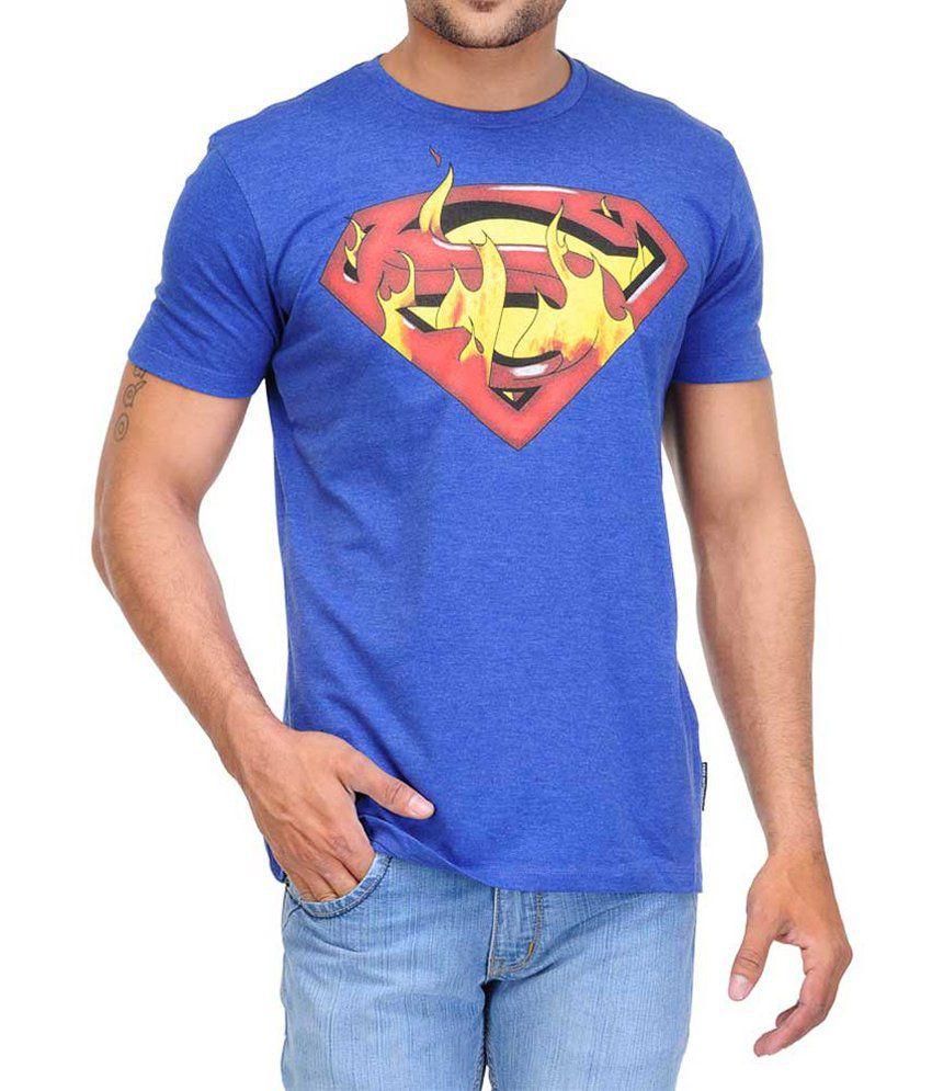 White Kalia Superman Blue Half   Cotton Round T-Shirt