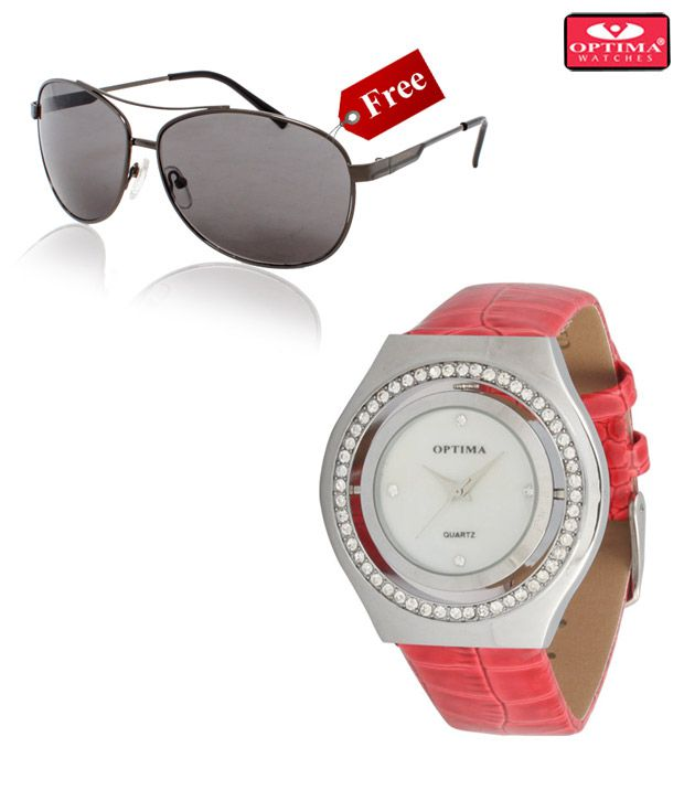 Optima Red Shiny Bezel Watch With Free Optima Sunglasses