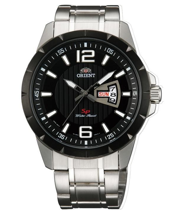 Orient Men Black Dial Silver Metal Strap Round Shape