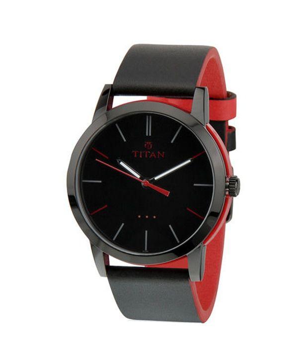 titan men s black red strap wrist watch buy titan men s black titan men s black red strap wrist watch