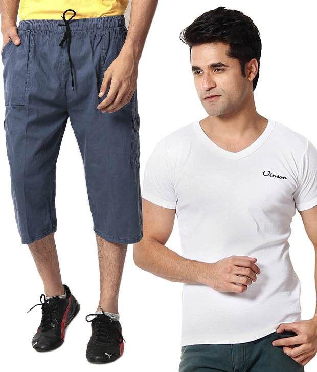 ZION combo of  Men's Capri with Men's white T-shirt