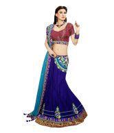 Vidya Fashion Blue Embroidered Net Semi Stitched Lehenga