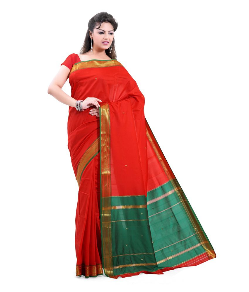 6d6392f0874 Ishin Green and Red Art Silk Saree - Buy Ishin Green and Red Art Silk Saree  Online at Low Price - Snapdeal.com