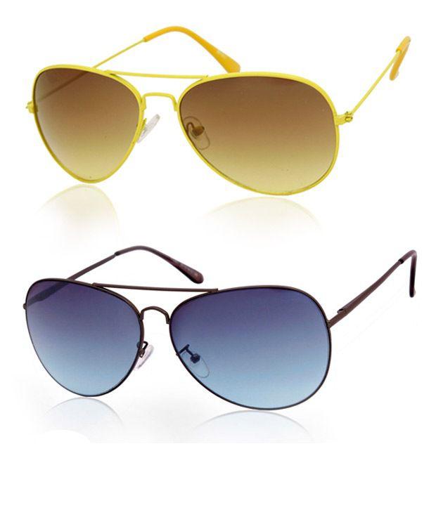 Joe Black Classic Black-Blue Aviator Buy 1 Get 1 Yellow Aviator Free
