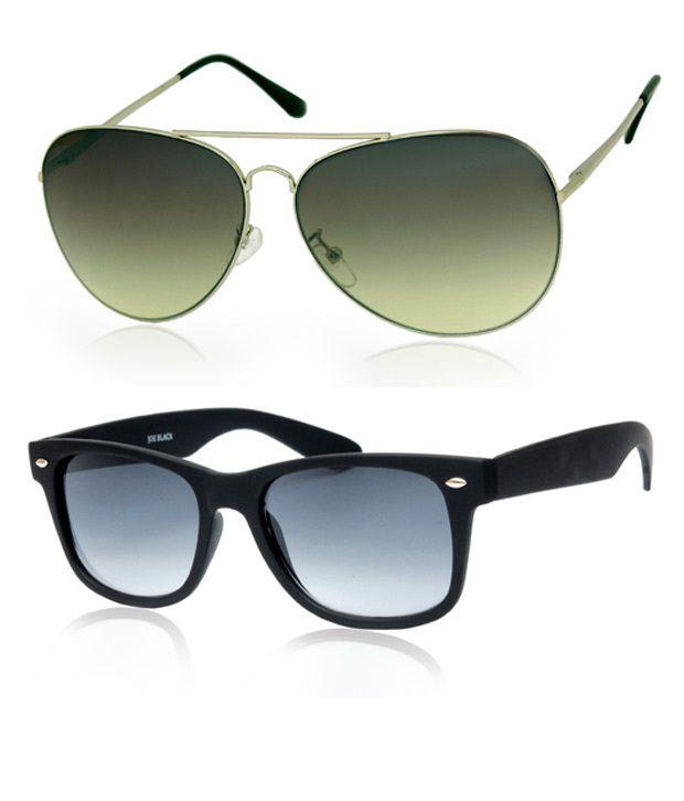 Joe Black Trendy Silver-Green Aviator Buy 1 Get 1 Black Wayfarer Free