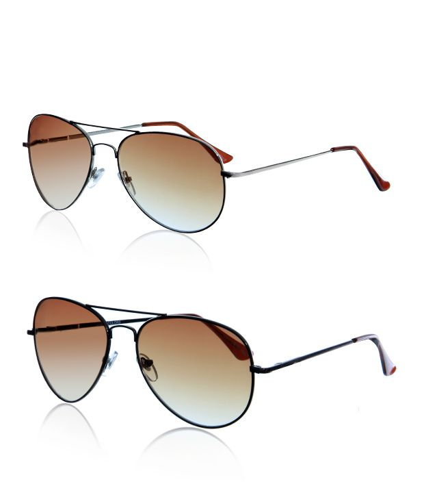 Just Colours Stylish Brown Aviator Sunglasses - Buy 1 Get 1 Free
