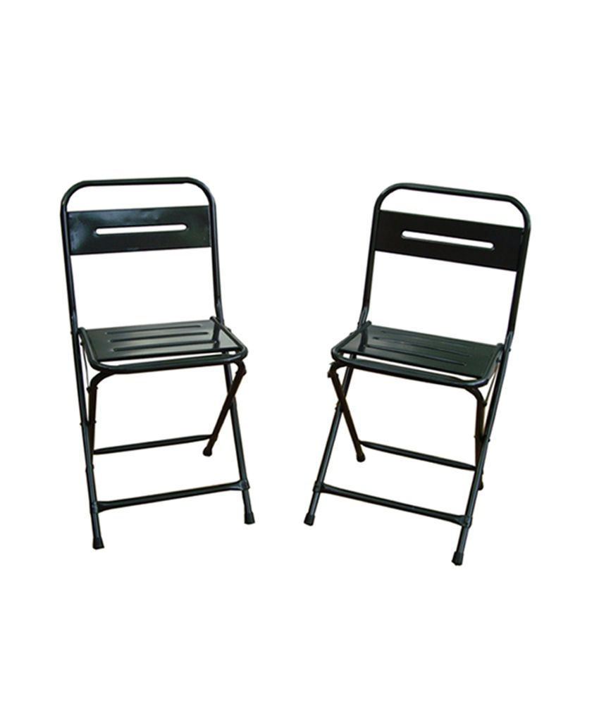 Montreal Set of Two Iron Folding Chairs - Color - Gun Metal