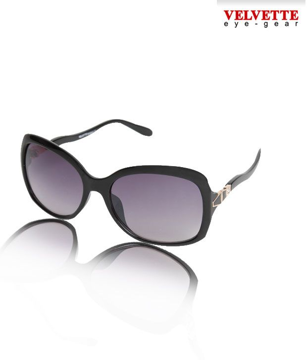 Velvette Sleek Frame Black Sunglasses