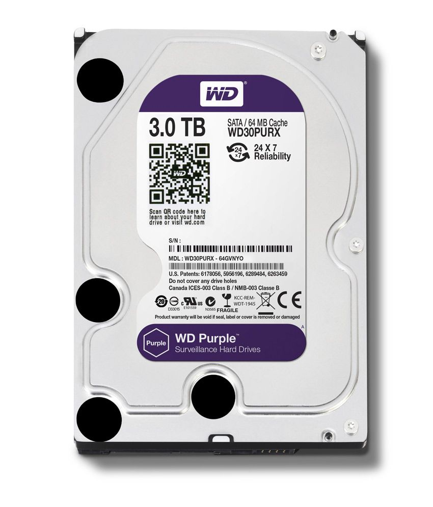 WESTERN DIGITAL Purple WESTERN DIGITAL 30PURX 3TB SATA 6.0Gb/s 3.5 Inch