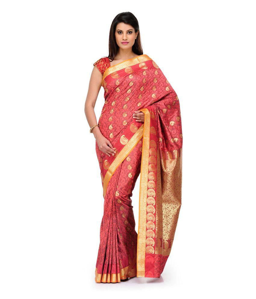 Fabroop Orange Mysore Silk Art Silk  Saree