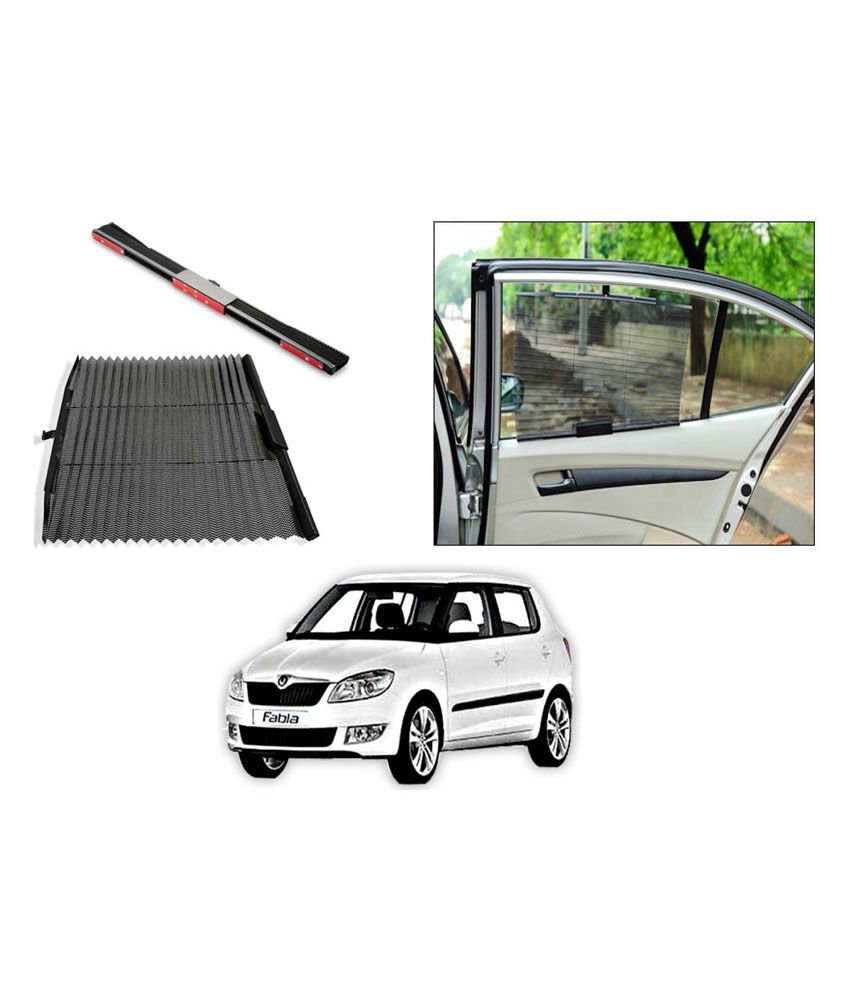 flomaster uv protection autofolding car sun shades curtains skoda fabia black set of 2 buy. Black Bedroom Furniture Sets. Home Design Ideas