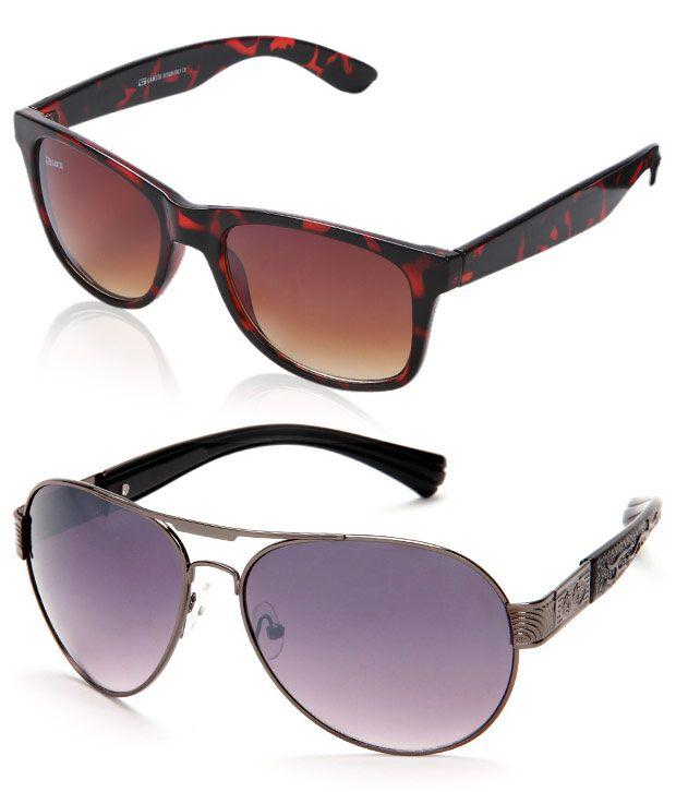 Gansta Tantalizing Brown-Grey Gradient Unisex Sunglasses- Buy 1 Get 1 Free