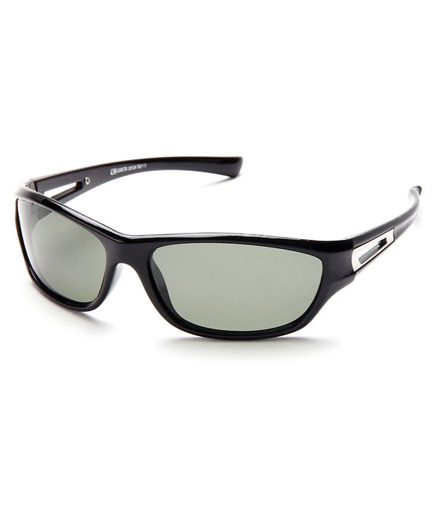 Gansta Wrap around GN-11011-Blk-Green Unisex Sunglasses