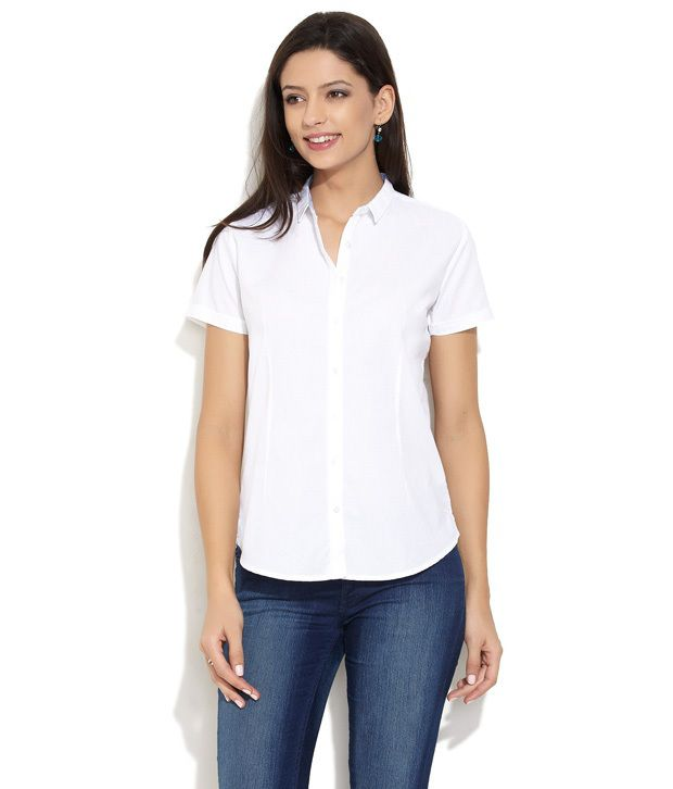 Scullers White Solids Cotton Half Regular Collar Shirts
