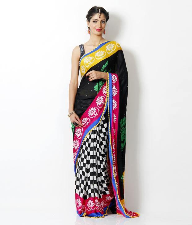 Aaditri Fashions Multicoloured Crepe Saree