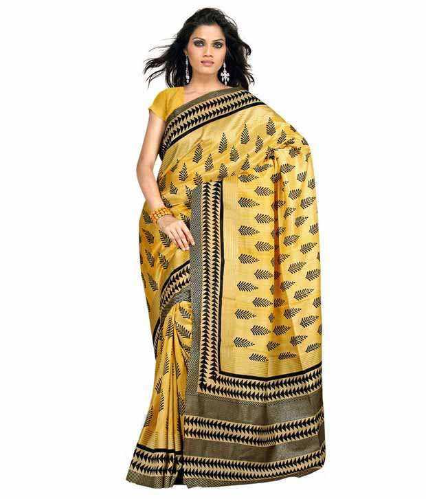 Aabha Yellow Art Silk Saree
