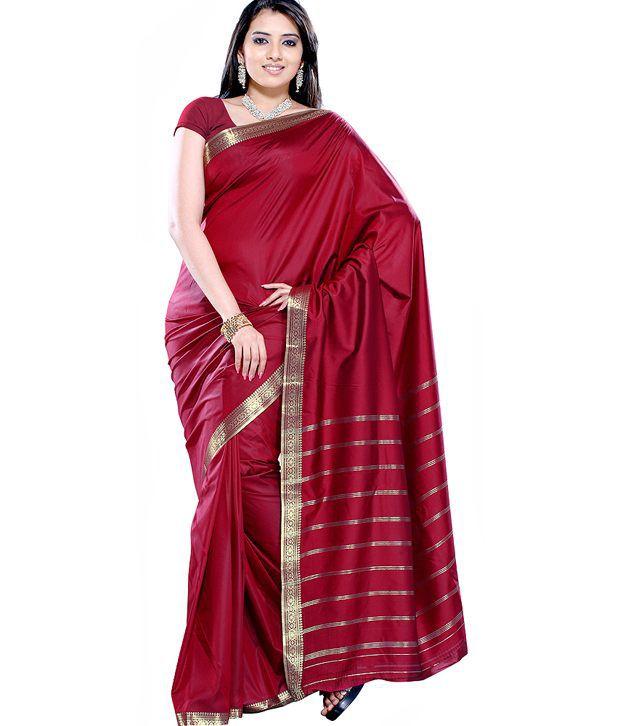 Aapno Rajasthan Red Art Silk Saree