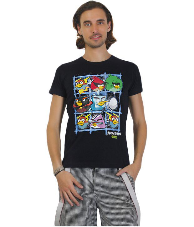 Angry Birds Black Half Cotton  Round  T-Shirt