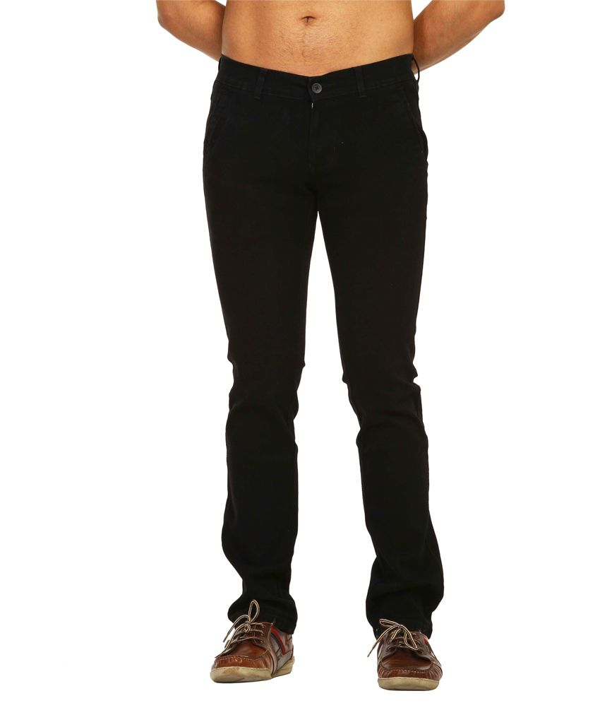 Fast N Fashion Black Slim Casuals Solids