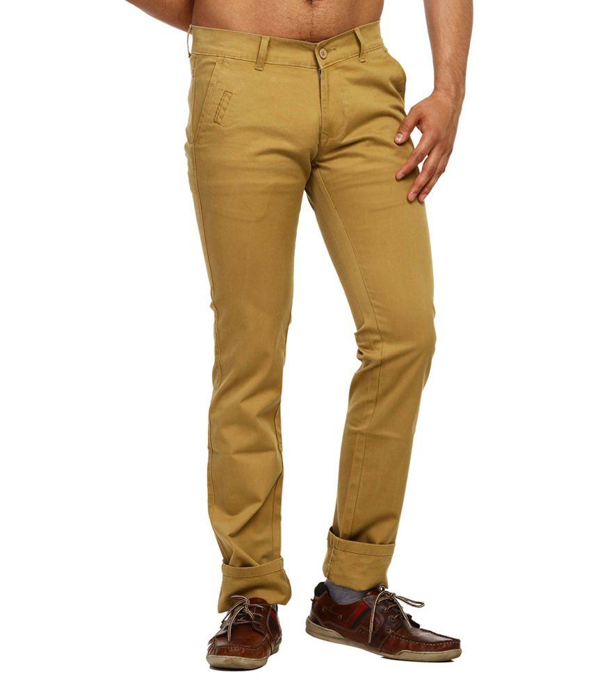 Fast N Fashion Khaki Slim Casuals Solids