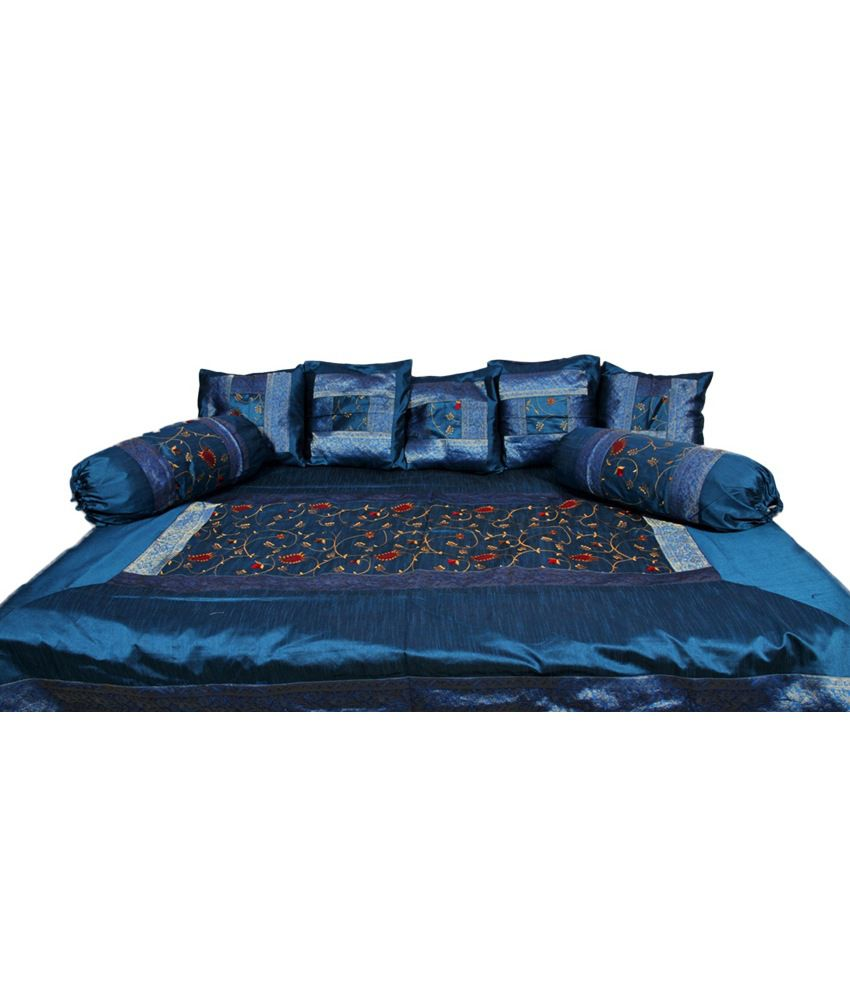 Rajasthani Sarees Blue Floral Silk Diwan Set