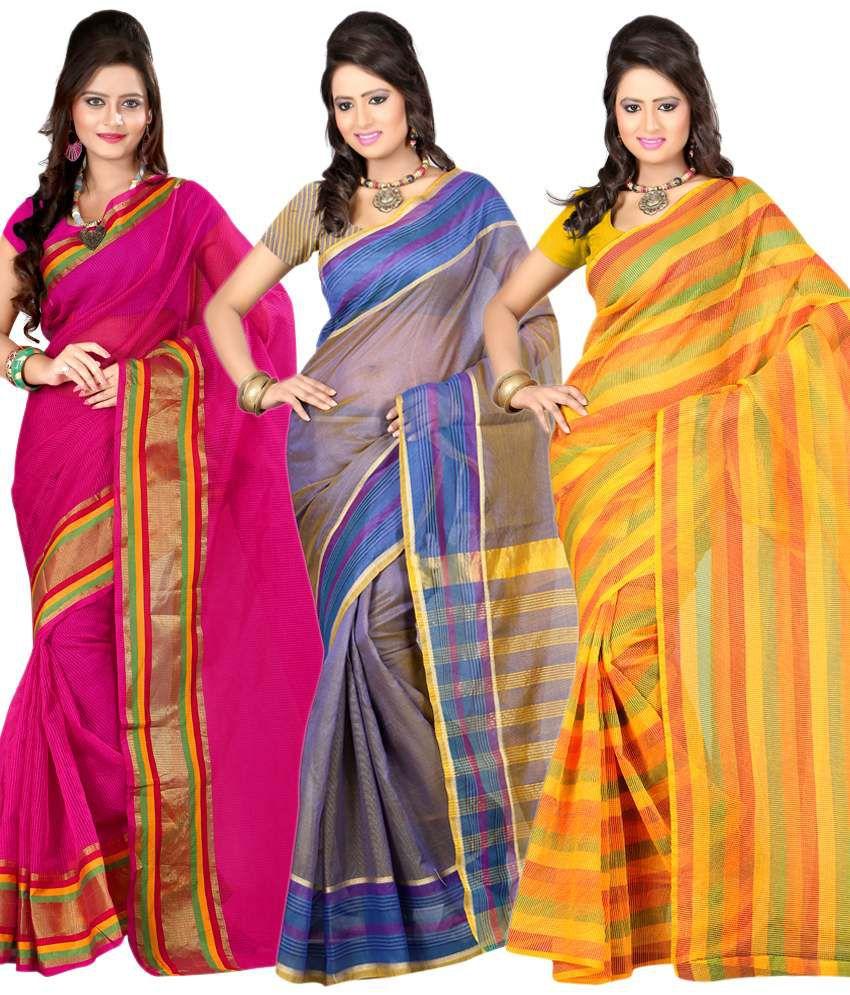 Sanju Sarees Multi Chettinad Faux Tissue SareeSanju Sarees smart multi-colour sarees pack of 3
