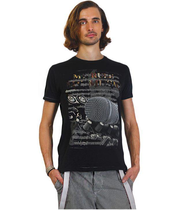 Status Quo Black Half Cotton Round  T-Shirt